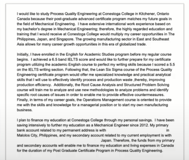 Sample Example for Engineering Program Letter of Explanation in Canada