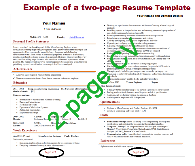 Can Resume Be 2 Pages?